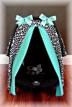car seat canopy car seat cover cheetah TEAL by JaydenandOlivia