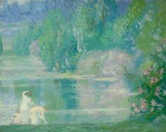 Trois baigneuses au bord de létang by Constant Montald