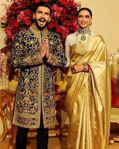12 Stunning Photographs of Ranveer Singh and Deepika Padukone - Wedding Reception - Mehndi Design Sherwani For Men Wedding, Wedding Suits, Sherwani Groom, Wedding Men, Indian Wedding Gowns, Indian Bridal, Ranveer Singh, Deepika Ranveer, Couple Wedding Dress