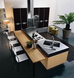 FB # inspiraçao cozinha # Minimalistic-modern-luxury-kitchen-island-design-with-wooden-contemporary-furniture-bar-and-chairs Modern Kitchen Plans, Modern Kitchen Design, Interior Design Kitchen, Modern Design, Contemporary Kitchens, Farmhouse Interior, Modern Kitchens With Islands, Farmhouse Small, Country Interior