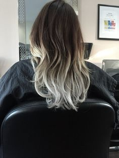 A long hair silver ombré
