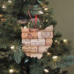 ohio ornament - state ornament - wine cork ornaments - wine gifts - gift for wine lovers - hostess gift - rustic christmas ornaments Wine Cork Ornaments, Rustic Christmas Ornaments, Wine Cork Crafts, Christmas Crafts, Gifts For Wine Lovers, Wine Gifts, Wine Tree, Wine Cork Coasters, Cork Art