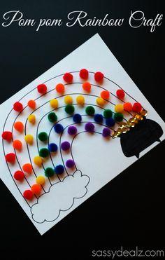 Pom Pom rainbow craft with printable.