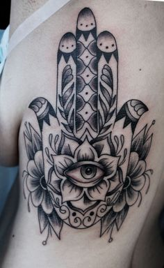 "Hamsa tattoo. Hamsa is important in both Arabic (""Hand of Fatima"") and Hebrew (""Hand of Miriam""). A goddess symbol, the eye- or vulva-in-hand shape is an ancient protective symbol, warding off the evil eye. http://25.media.tumblr.com/tumblr_mboiqtALhU1qed55zo1_500.jpg"