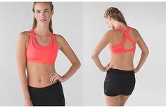 Run: Stuff Your Bra II, $52, sz 10, electric coral.  ・designed for: run ・fabric(s): Luxtreme®, COOLMAX® ・support: medium ・coverage: medium