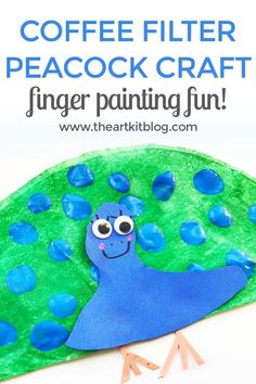 Coffee Filter Craft - Peacocks {Fingerprint Painting Fun} We've been enjoying learning all about peacocks lately, so naturally we had to make a fun peacock craft with