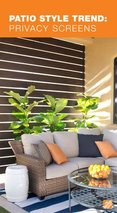 Make your patio or porch feel more like a room with a privacy screen. This DIY slatted privacy screen is both functional and beautiful, giving the patio a cabana-style feel. Learn more about this trend and get the step-by-step. Outdoor Rooms, Outdoor Living, Outdoor Decor, Outdoor Areas, Diy Patio, Backyard Patio, Patio Ideas, Wood Patio, Backyard Ideas