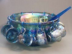 Indiana Blue Carnival Glass Princess Punch Bowl SET 12 Cups Hooks AND Ladle | eBay