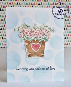 Inspired by Stamping, Nicole Picadura, Basket of Flowers stamp set, CAS card, clean and simple card, birthday card