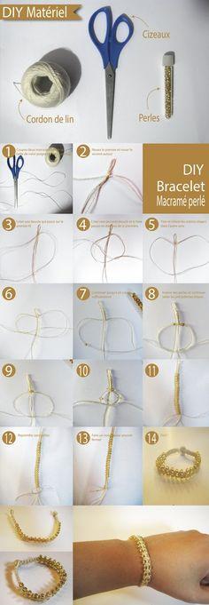Diy and Inspiration: [DIY] beaded bracelet macrame