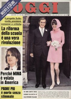 OGGI, edition of January Dr. Andrea Dotti photographed with Audrey after their wedding at the town hall in Morges (Switzerland), o. Audrey Hepburn Wedding Dress, January 29, Hollywood, Town Hall, Her Style, Switzerland, Profile, Black And White, Blanco Y Negro