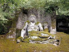 From Bosco dei Mostri (Grove of the Monters) in Bomarzo, Italia. The monsters are believed to have been carved by Pirro Ligorio for Pier Francesco Orsini in honor of his recently deceased wife. They were carved from local tufa stone, which is why, most likely, the mostro have eroded, unlike the Roman and Greek marble statuary.