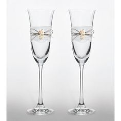 Set met 2 champagne glazen Vintage Lace and Flowers