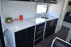 Recessed oven for more bench space. Caravans For Sale, Rv Parts And Accessories, Corner Desk, Oven, Bench, Space, Furniture, Home Decor, Display