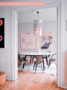 dining space + colorful art