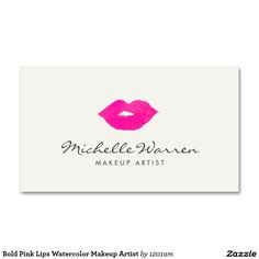 Bold Red Lips Watercolor Makeup Artist Double-Sided Standard Business Cards (Pack Of Beauty Business Cards, Makeup Artist Business Cards, Business Card Logo, Watercolor Artist, Pink Lips, Red Lips, Business Card Design Inspiration, Business Ideas, Make Up