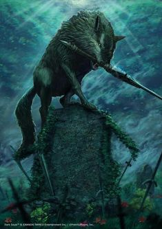 This is my new artwork, a poster made for First 4 Figures of the Sif the grey wolf of Dark Souls! It will be a poster that goes along with the exclusive Sif statue only! Bloodborne, Sif Dark Souls, Dark Fantasy, Fantasy Art, Anime Meme, Soul Saga, Demon Wolf, Soul Tattoo, Wolf Artwork