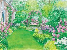 Gestaltungsvorschlag romantischer Landhausgarten