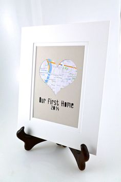 Our First Home - Personalized Heart Map Matted Gift - Anniversary or Wedding Gift - New Home Art- Housewarming Gift For First House