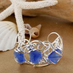 Sadie Green's Cobalt Sea Glass Scribble Bracelet