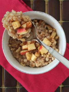 Swap your traditional oatmeal for barley in this heart-healthy, fiber-rich breakfast barley. This cinnamon and apple hot cereal is a welcome on a cold day.