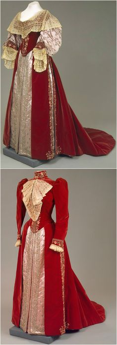 Dress of Empress Maria Fyodorovna, by Charles Frederick Worth's Firm, Paris, 1890s, at the State Hermitage Museum. Two bodices; velvet, satin, lace, silk and silver thread, metal and glass beads, paste; embroidered.