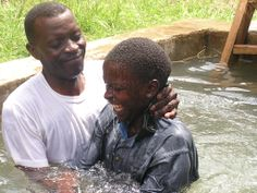 The baptism at the assembly in Iringa, Tanzania. Look at that SMILE!! The most important day of this man's life !!