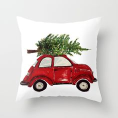 red car with tree pillow