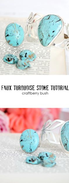 Craftberry Bush | How to make faux turquise with Polymer Clay | http://www.craftberrybush.com