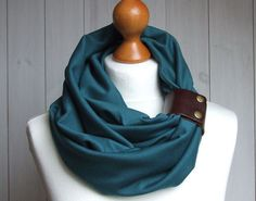 TEAL Infinity Circle Scarf Shawl Loop with leather cuff by Zojanka