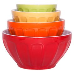 Add a pop of color to your kitchen with these charming mixing bowls, showcasing thumbprint designs and bright finishes.   Product:
