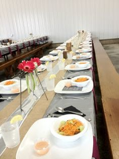 Amish Wedding Tables all Layed out with Salads~ Sarah's Country Kitchen ~