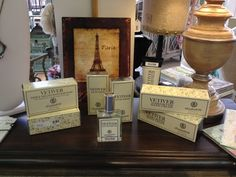 Vetiver Bath Products. Made in San Francisco. Asst. Prices.
