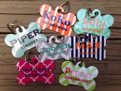 This precious bone-shaped dog tag can be personalized with your choice of designs, color and fonts. Custom Pet Tags, Personalized Dog Tags, Dog Name Tags, Cute Dog Tags, Pet Names, Girl Dog Names, Cute Names For Dogs, Cute Dogs, Puppy Names