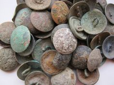 Relics of vintage russian tsarist metal buttons with eagles dig find