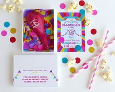 Circus Carnival Boxed Balloon Invitations with por ohgoodiedesigns
