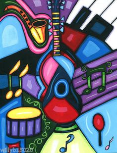 Music universal language abstract instruments art original painting BY Vella
