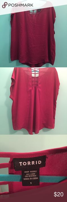 Torrid - Sheer Pink Lattice Back Blouse Torrid - Size 1 - Sheer pink blouse with lattice back - lightly worn torrid Tops Blouses