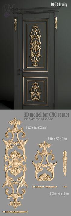 DOOR luxury cnc- model for cnc router furniture - Huis inspiratie - Door Gate Design, Door Design Interior, Wooden Door Design, Main Door Design, Wooden Doors, Cnc Router, Modern Garage Doors, 3d Modelle, Affordable Furniture