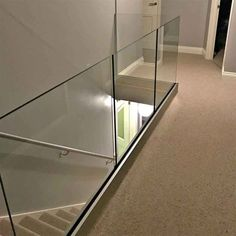 Glass railing with solid aluminum base – Yurihomes Glass Balcony Railing, Indoor Railing, Indoor Balcony, Home Stairs Design, Door Design, House Design, Channel Glass, Glass And Aluminium, Laminated Glass