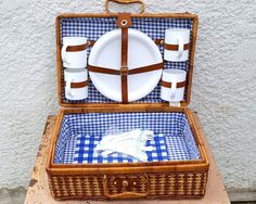 Vintage Large Two-Tone Wicker Picnic Basket / Suitcase Style,Plastic Plates, Mugs and Flatware for Four