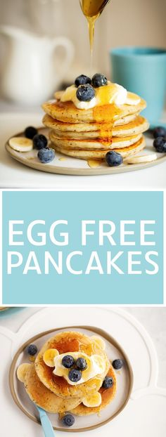 Egg Free Pancakes recipe.  Light and fluffy pancakes made without eggs and you can't taste the difference and neither will your kids!