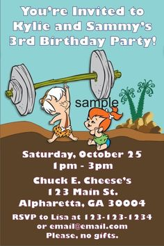 Flintstones - Pebbles and Bamm - Bamm Invitations Yabba Dabba Dooooo! Flintstones - Pebbles and Bamm - Bamm Invitations is available at Personalized Party Invites. Personalize Flintstones - Pebbles and Bamm - Bamm Invitations online and see an instant preview of your design It's fast and easy!