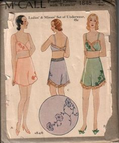 1930s McCall pattern for Ladies' and Misses' Set of Underwear (bra and tap pants).