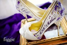 Purple and Gold Hand Painted Wedding Shoes by Figgie | www.figgieshoes.com