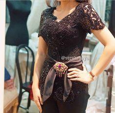 Elegant Black Kebaya - A modern kebaya with embroidery tulle and satin belt.