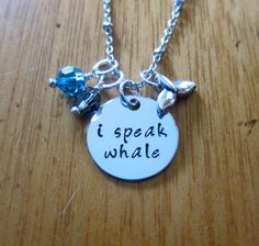 Finding Nemo Inspired Necklace. Dory. I Speak Whale. Silver colored  Swarovski Elements crystals Whale Tail. Hand stamped. by WithLoveFromOC (item: 201510292020)