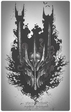 Sauron inking by Serban Gabriel on ArtStation. Tolkien Tattoo, Lotr Tattoo, Dark Artwork, Dark Art Drawings, Fantasy Artwork, Hobbit Art, The Hobbit, Witch King Of Angmar, Lord Of The Rings Tattoo