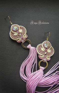These earrings are for inspiration only, they're unavailable:( Handmade Beaded Jewelry, Boho Jewelry, Jewelry Crafts, Jewelery, Unique Jewelry, Soutache Necklace, Beaded Earrings, Crochet Earrings, Embroidery Jewelry