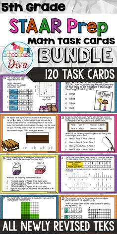 5th Grade STAAR Math!  120 Newly Revised TEKS Task Cards!  $ 5th Grade Math Games, Teaching 5th Grade, Fifth Grade Math, Math Tutor, Teaching Math, Maths, Math Task Cards, Guided Math, Math Classroom